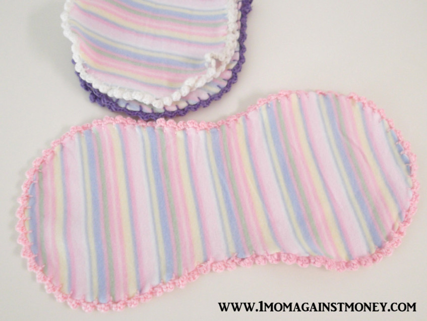 Easy Crochet Trimmed Burp Cloths