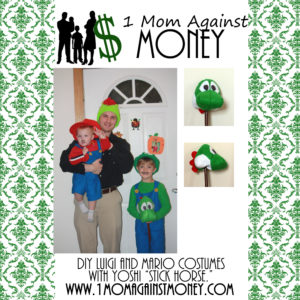 "DIY Yoshi ""Stick Horse"" and Mario and Luigi Costumes"