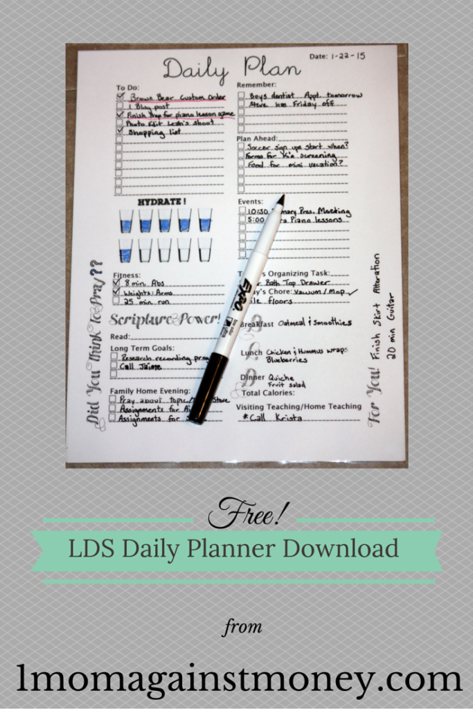 LDS Daily Planner Page