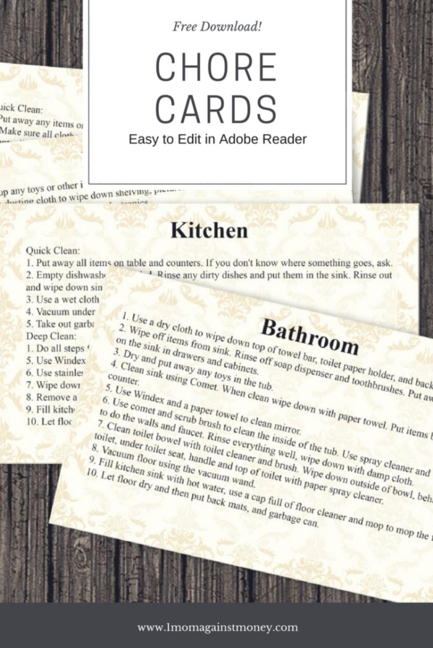Chore Cards Freebie!