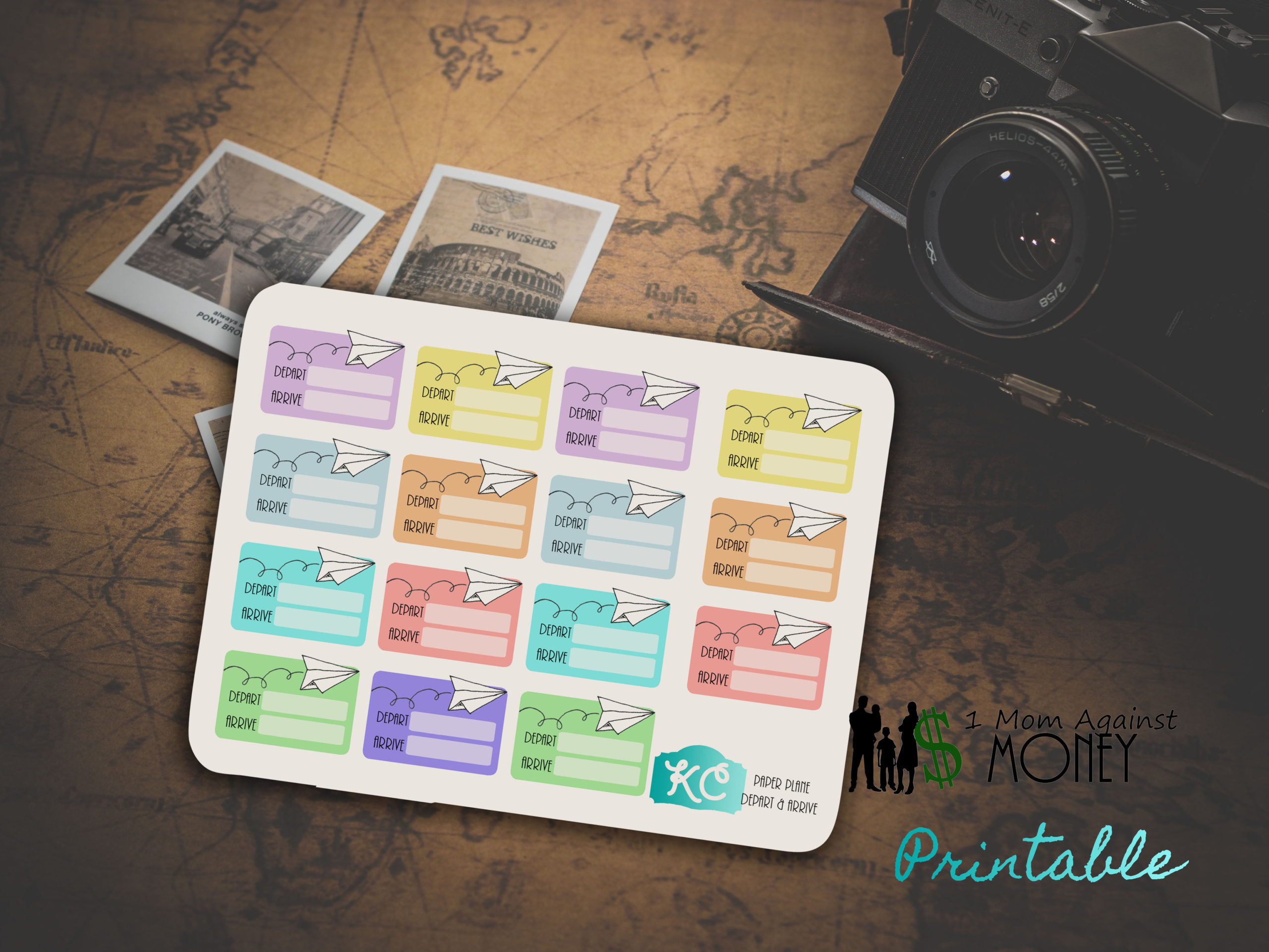 Travel Depart and Arrive Planner Stickers