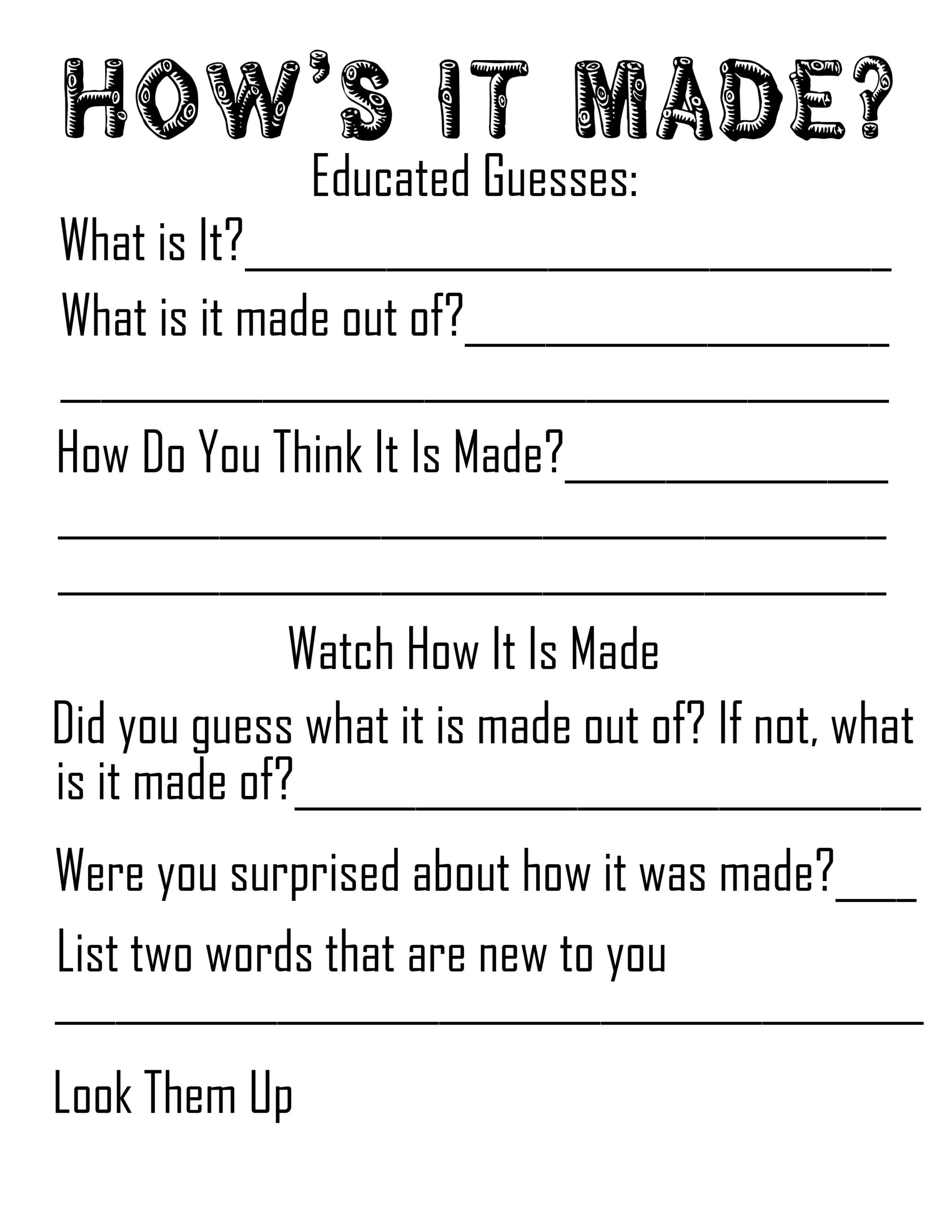 How's It Made Worksheet