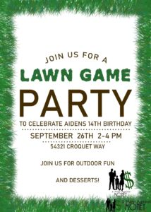 Free Lawn Game Party Invite