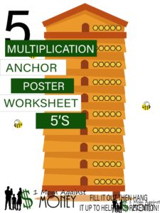 The 5 Beehive Times Table Worksheet and Poster