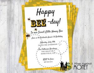 Happy Bee Day Party Invite-Free Editable