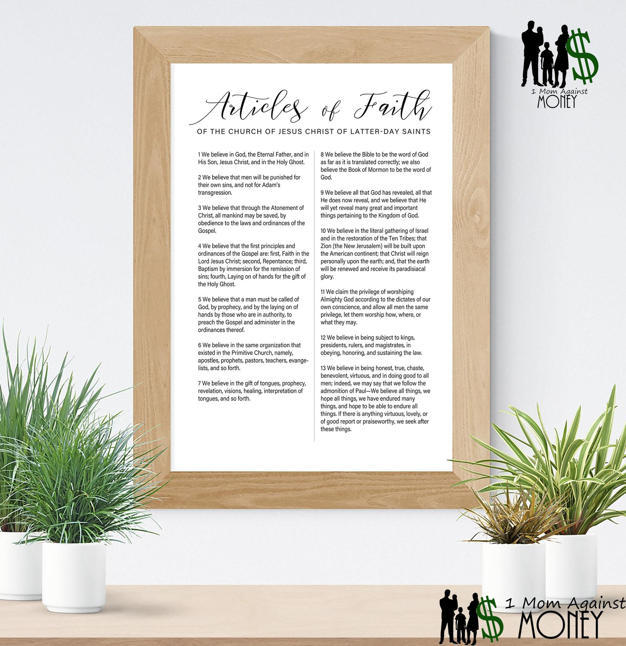 Articles of Faith Script Style Wall Art Print Free!